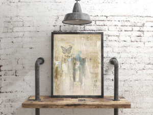 Blank Poster Frame on white rustic industrial wall