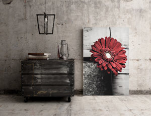 Blank Canvas Poster on concrete rustic wall interior